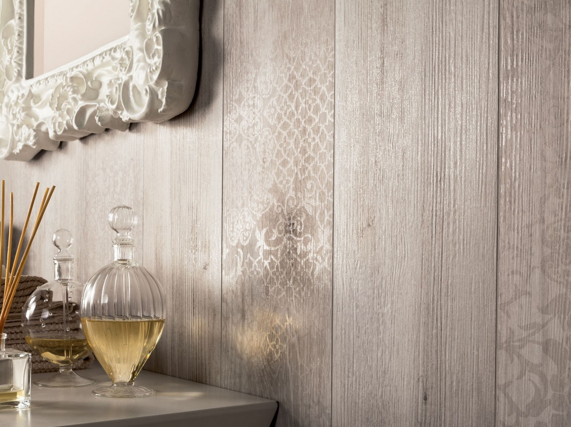 Wood look tiles - Wood effect bathroom wallpaper ...