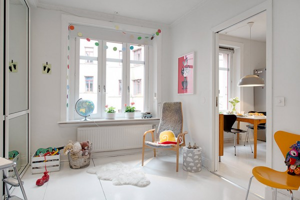 m Urban Apartment with Terrrace- white canvas with bright accessories nursery: play room