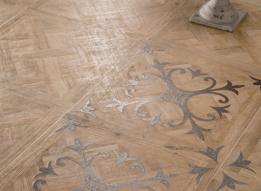 Medium Patterned Wooden Floor Tiles With Fleur De Lis Motif Closeup Interior Design Ideas