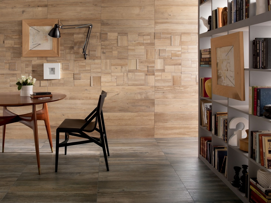 wood look tiles - Living Room Wall Tiles Design