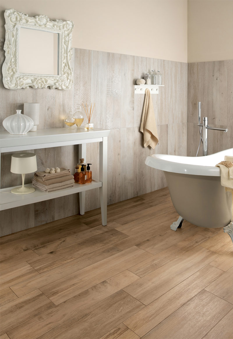 medium rough wooden floor tiles in bathroom interior