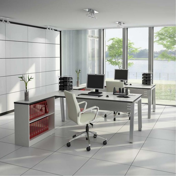 square white tiled workspace with panelled glass wall and views
