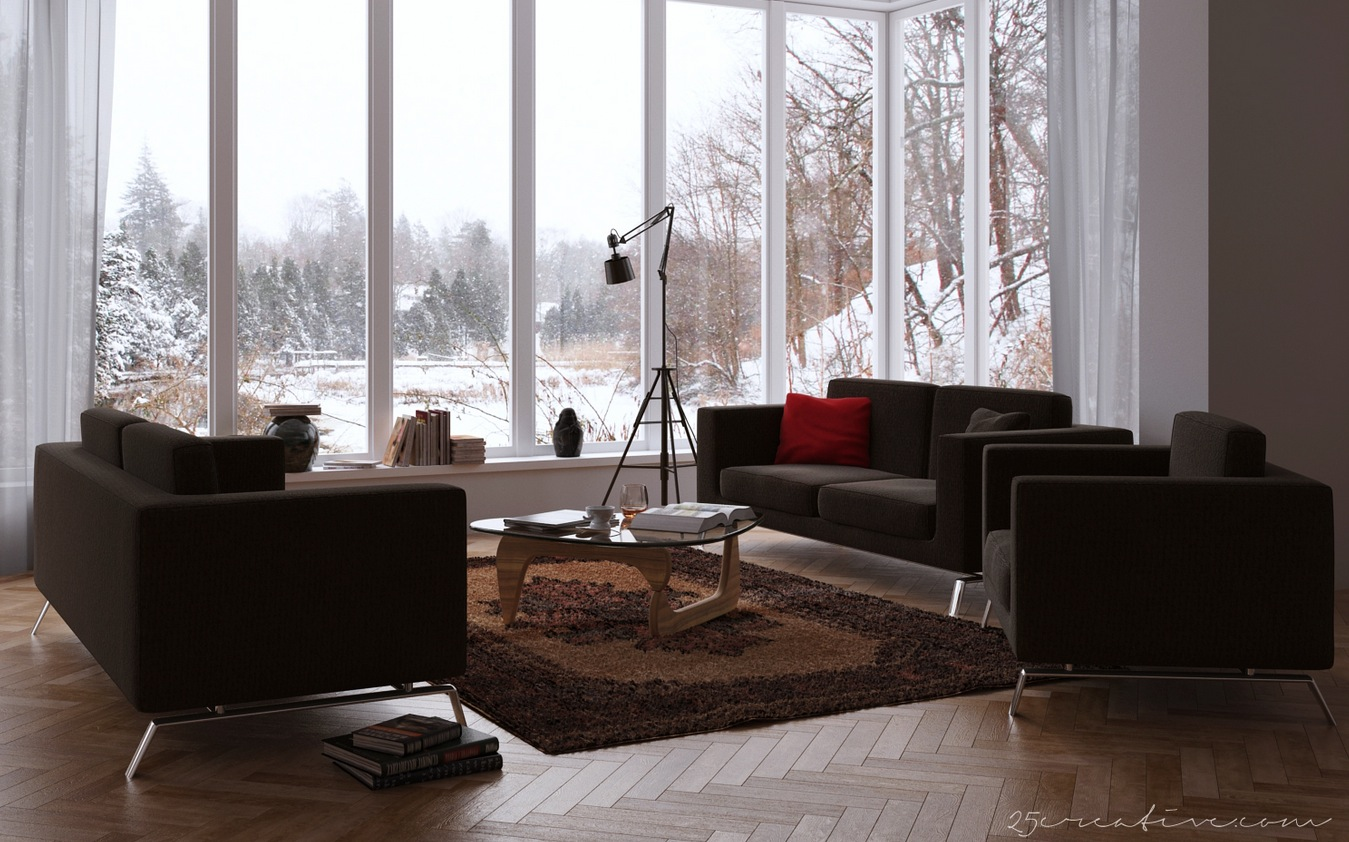 25creative Chocolate Living Room With Windowed Wall