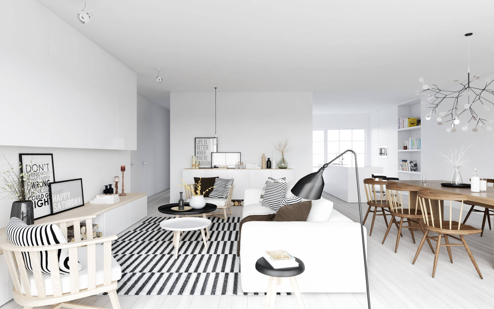 Atdesign nordic style living in monochrome with wooden for Decoration de salon interieur