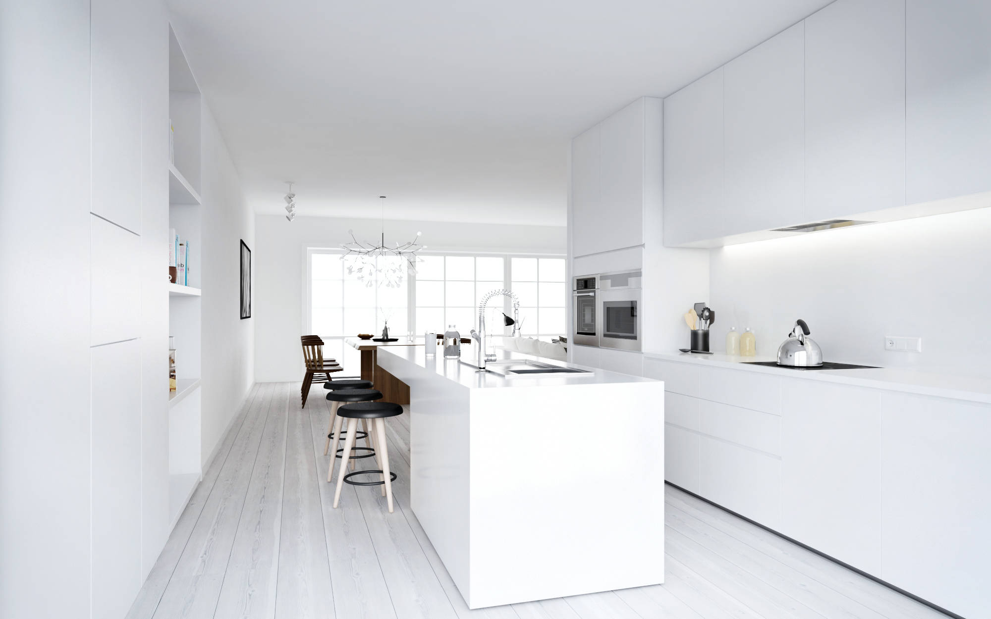 Atdesign nordic style minimalist kitchen in white White interior design