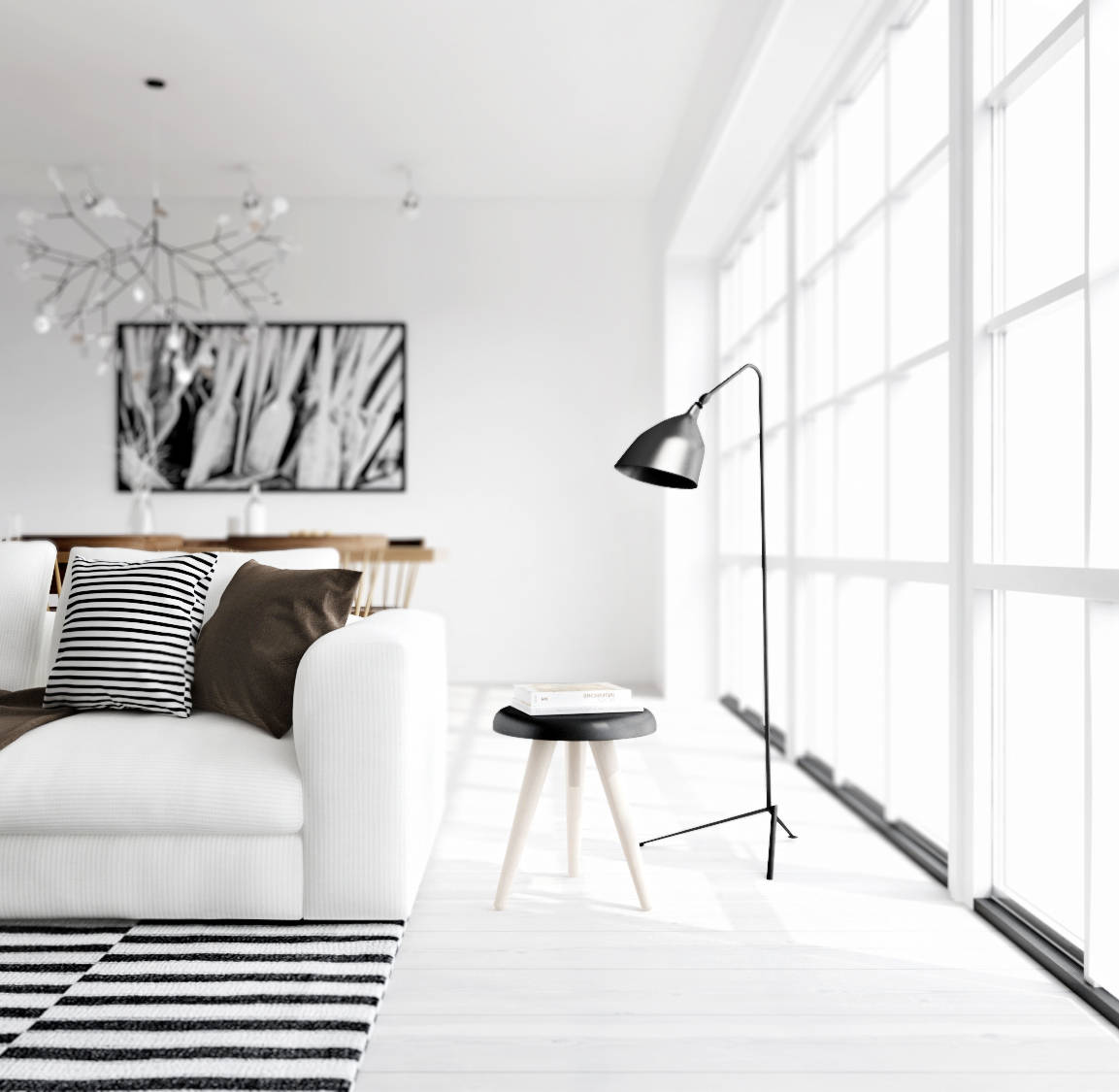 ATDesign- monochrome living nordic style  Interior Design Ideas.