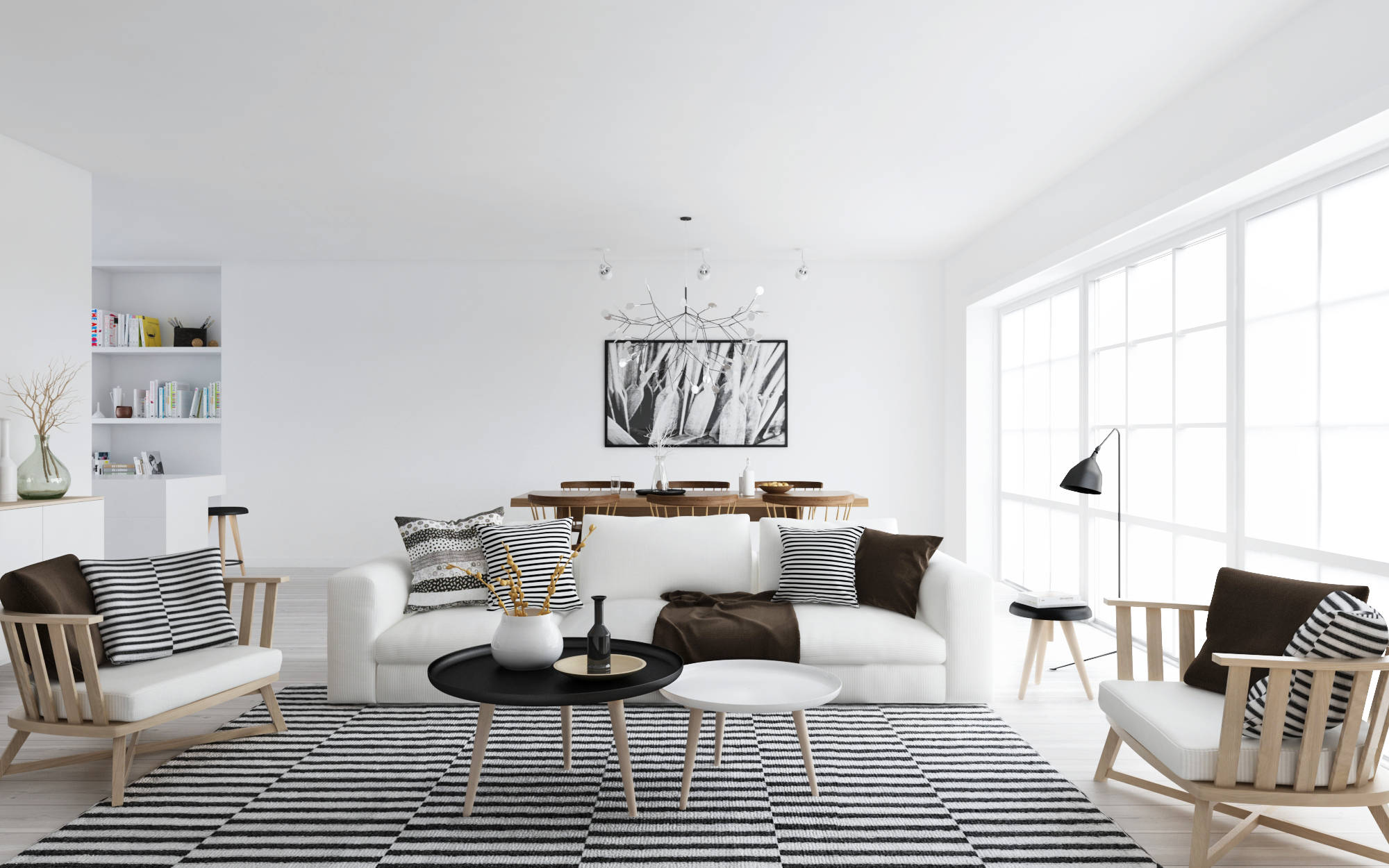 Atdesign nordic style living in monochrome interior for Monochrome interior design ideas