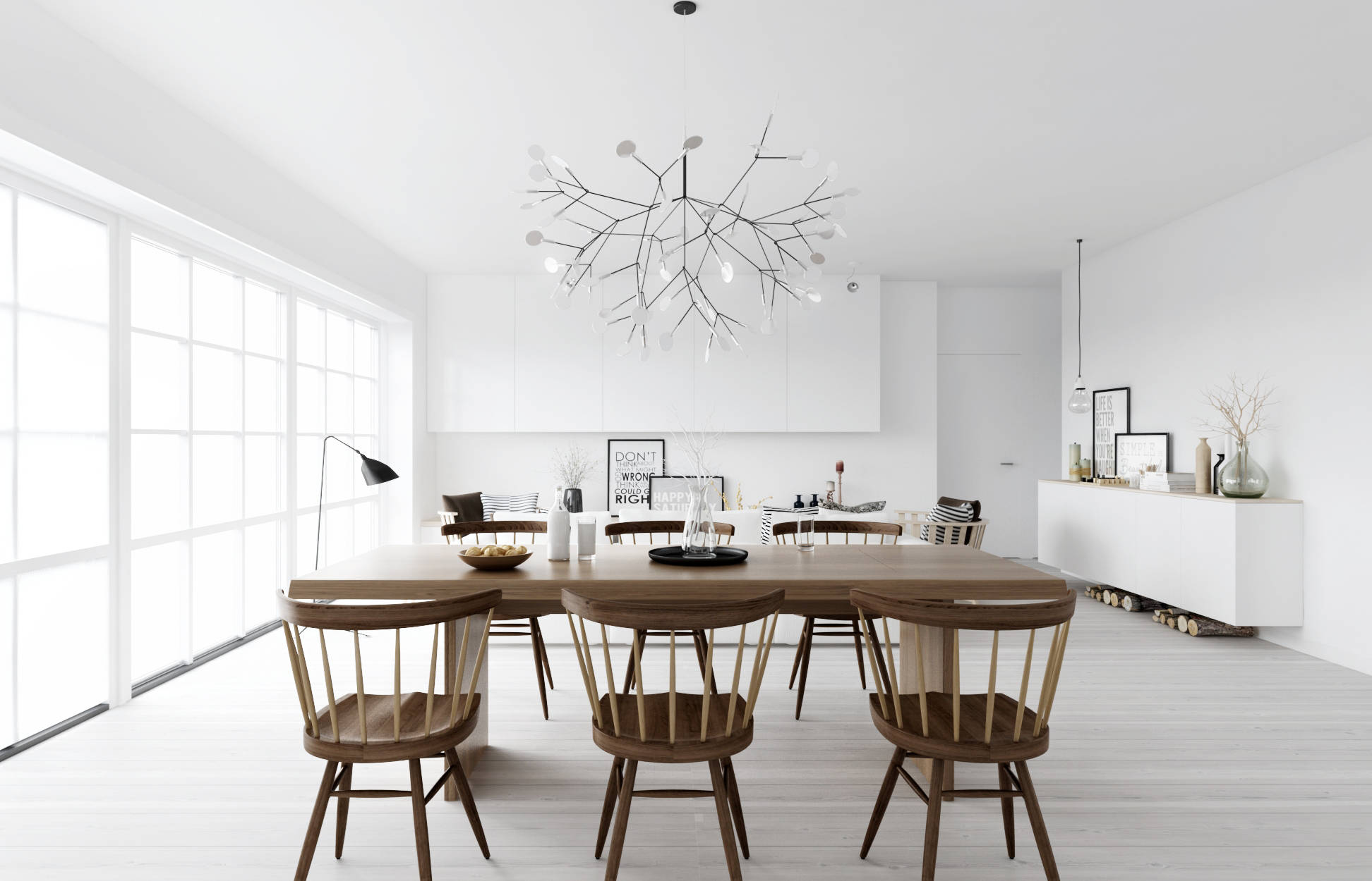 ATDesign Wooden Dining In Monochrome Nordic Living - Nordic interior design
