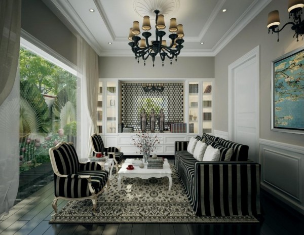 Dramatic black and white living with chandelier