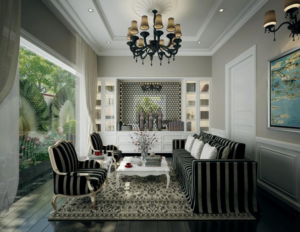 Dramatic black and white living with chandelier interior design ideas - Inspiration deco salon ...