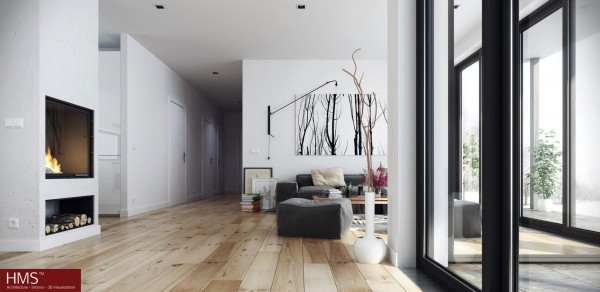 Hoang Minh- Nordic style living with wooden floors and fireplace