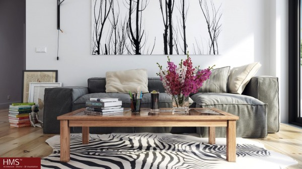 Hoang Minh- Nordic style lounge with wintery print