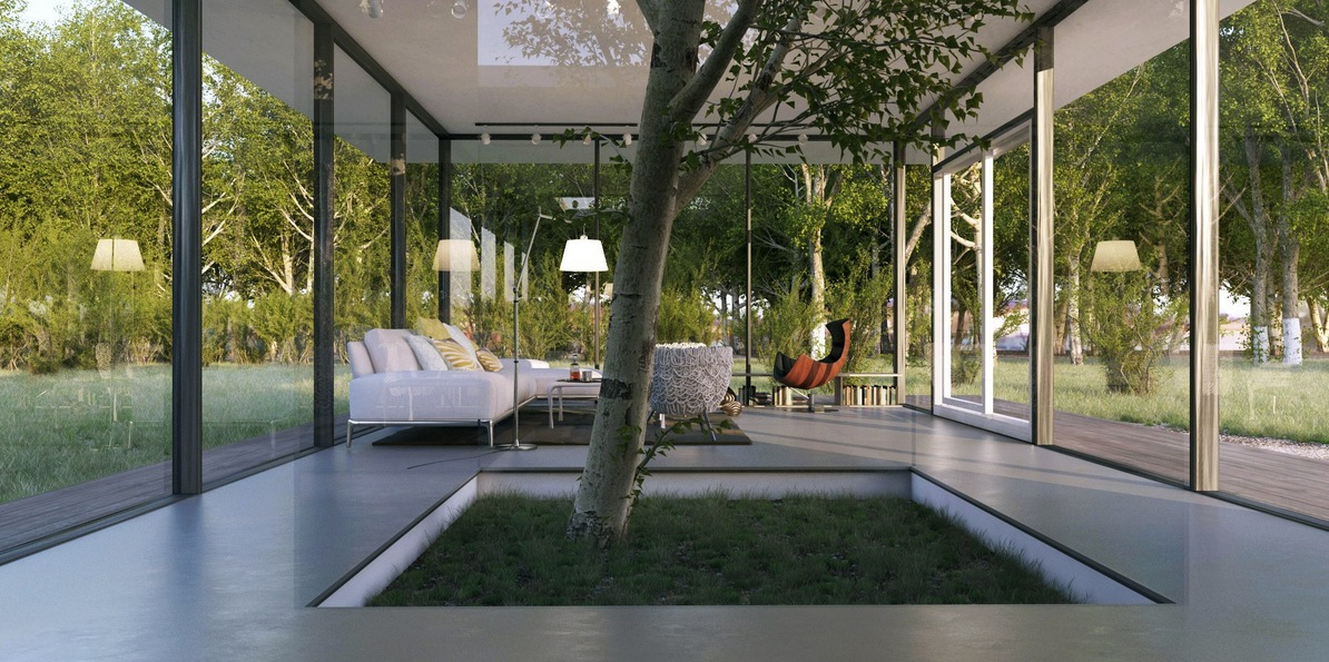 Le anh white living with indoor tree feature interior - Case moderne con vetrate ...