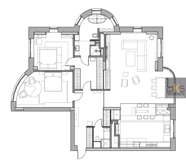 Leks Architects Kiev Apartment- Plan