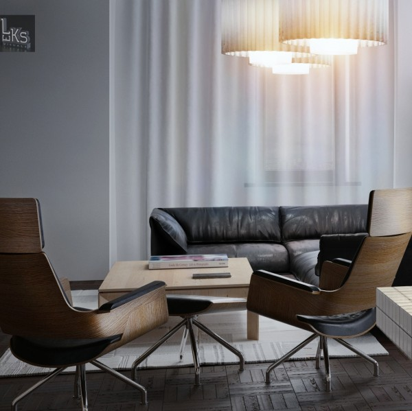 Leks Architects Kiev Apartment- black and wood lounge with modern pendant lighting