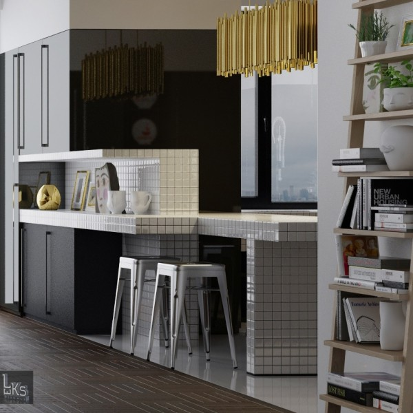 Leks Architects Kiev Apartment- black lacquered kitchen cabinetry with stainless steel industrial stools