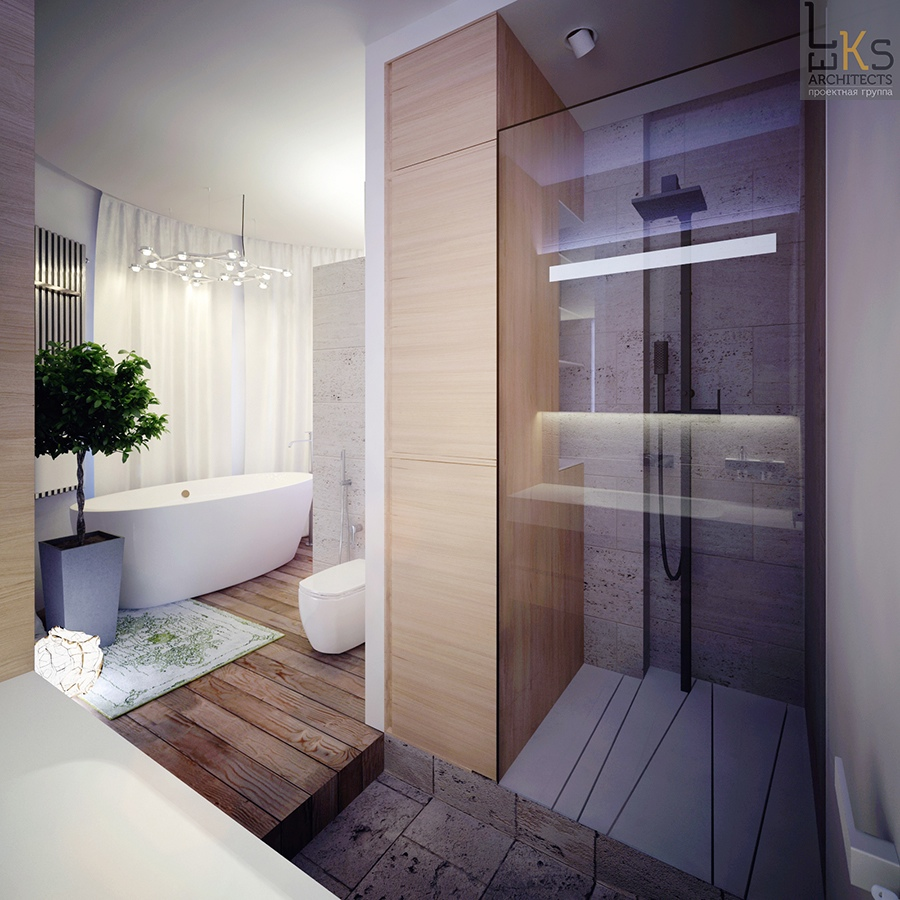 Leks architects kiev apartment elemental bathroom with for Bathroom architectural designs