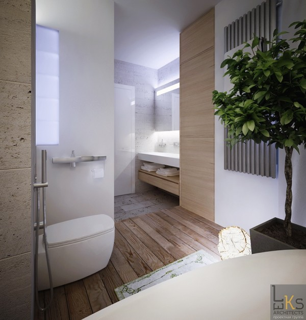 Leks Architects Kiev Apartment- elemental bathroom with living accessories and modern fixtures