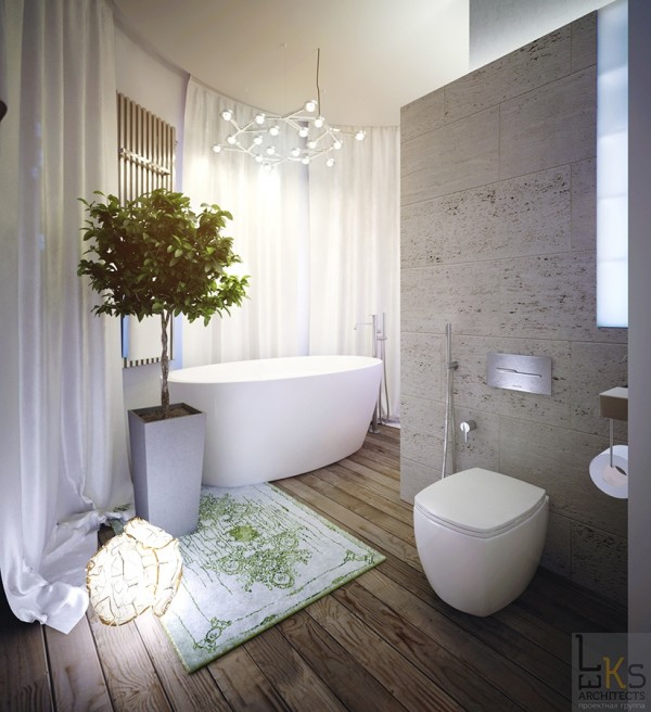 Leks Architects Kiev Apartment- elemental bathroom with wooden floors and substantial tub