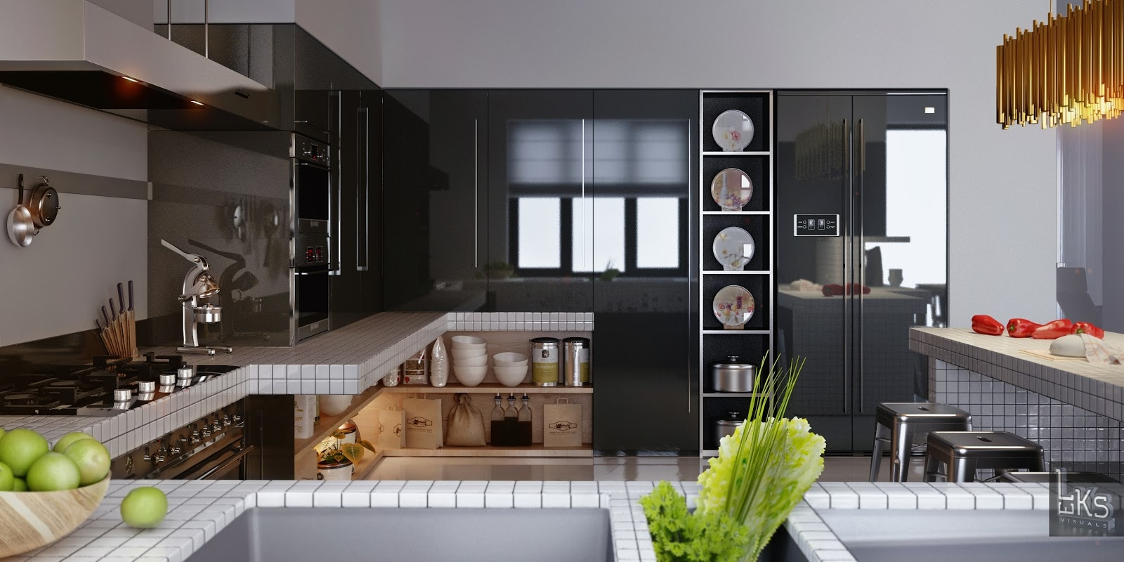 Leks Architects Kiev Apartment Monochrome Lacquered Kitchen With - Kitchen architects