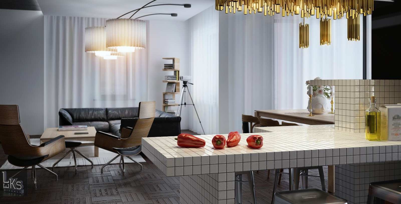 Leks architects kiev apartment view from kitchen servery for Kitchen sitting area