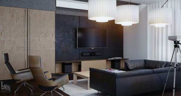 Leks Architects Kiev Apartment- wood and slate monochrome lounge with modern light fixtures