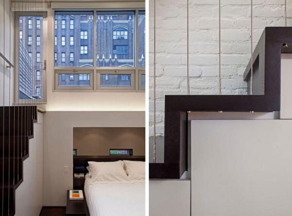 Manhattan-Micro-Loft- cantilevered bedroom staircase to rooftop
