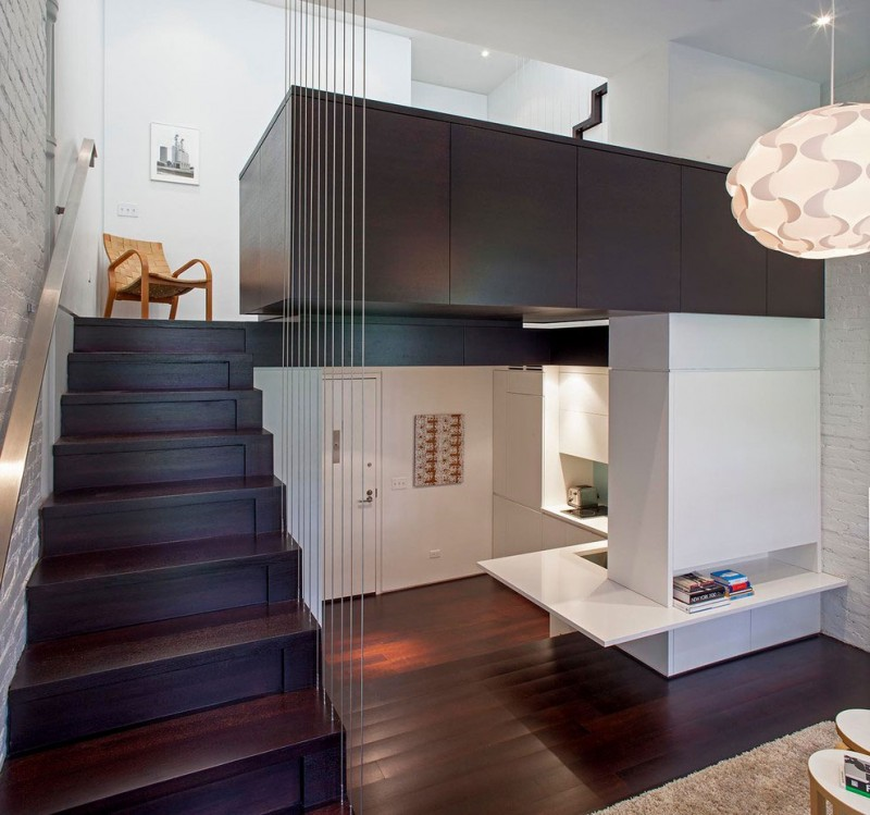 Manhattan Micro Loft Corner Kitchen Dark Wood Staircase - Perfectly planned pied terre