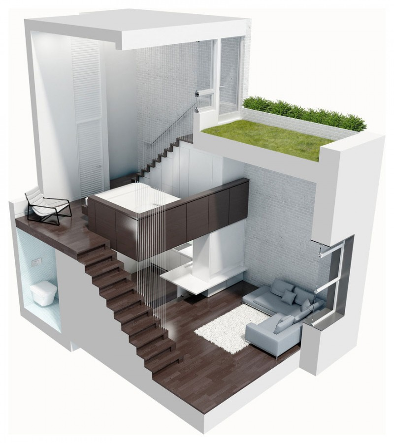 Manhattan Micro Loft Model 3D Plans Interior Design Ideas