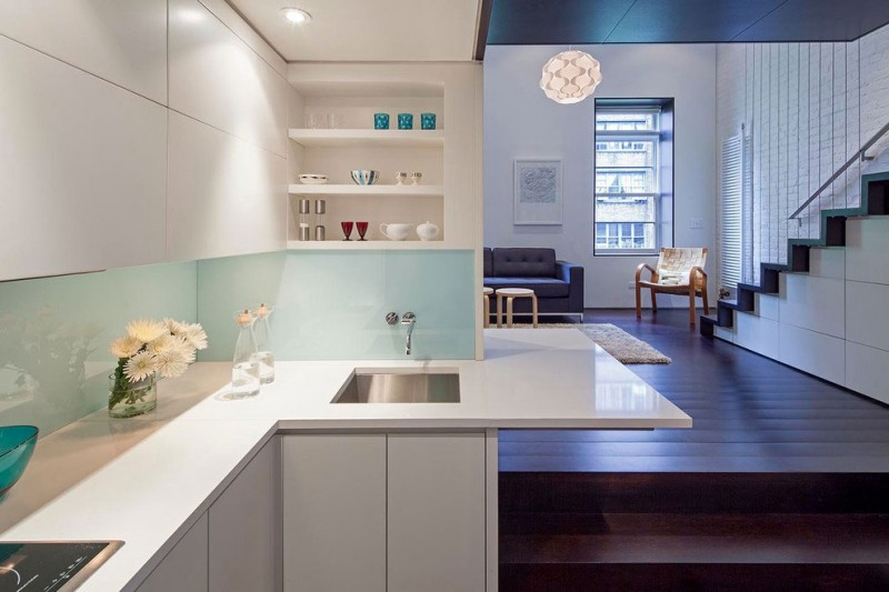 Manhattan Micro Loft White Downlit Kitchen - Perfectly planned pied terre