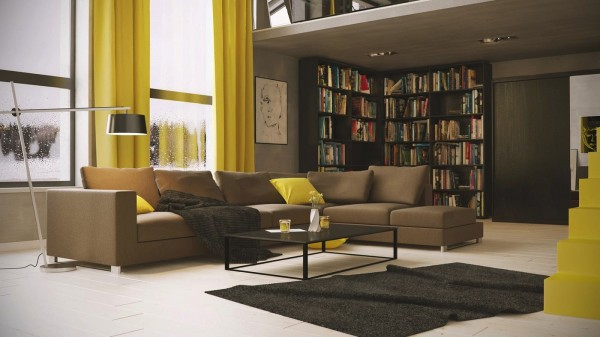 Michal Skitomek- living with library and yellow accents