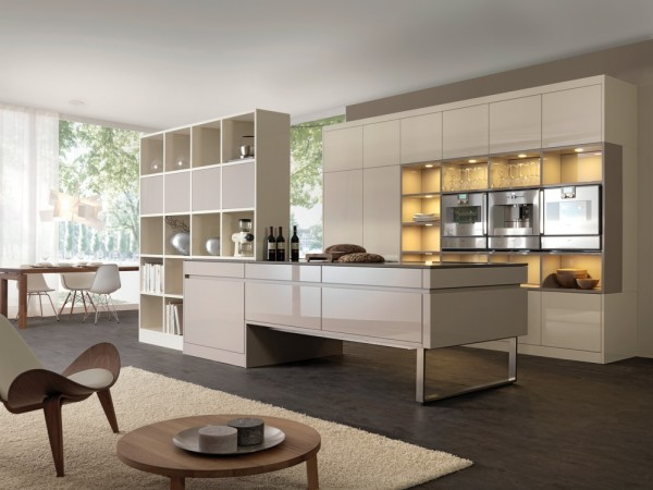 cream kitchen storage with lighting