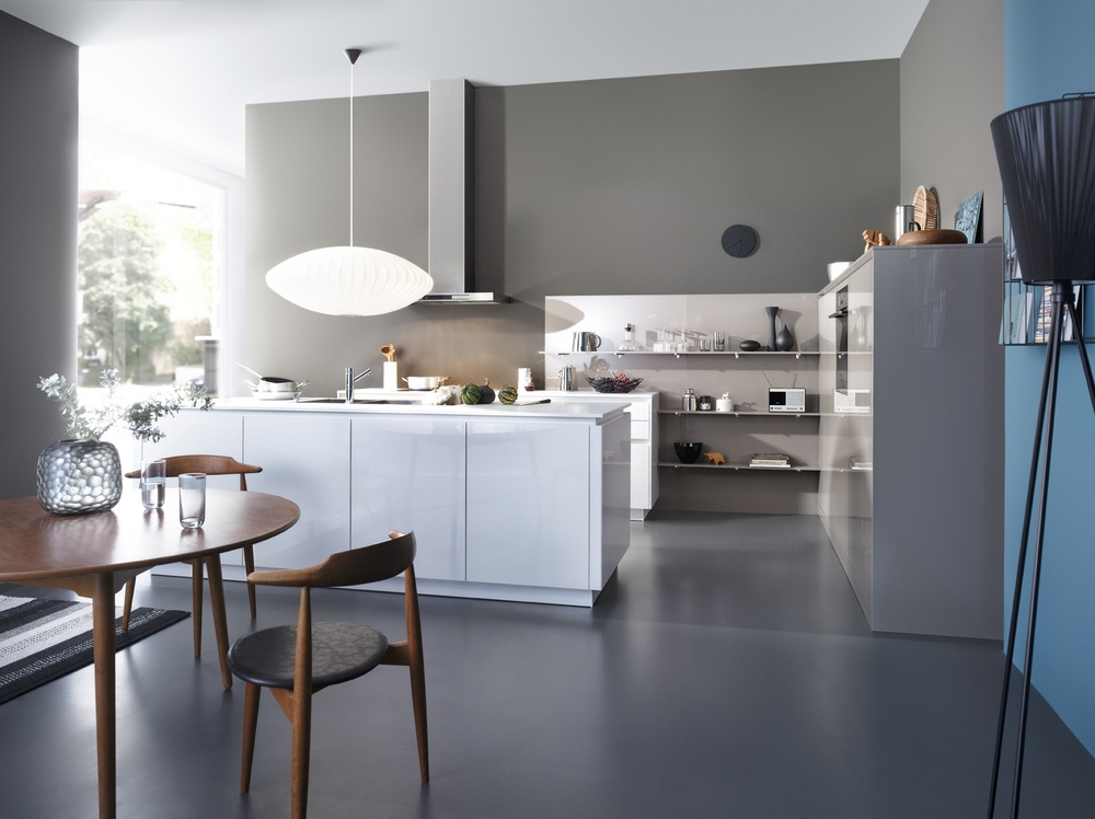 Grey and stainless steel kitchen with white island for Stainless steel kitchen designs