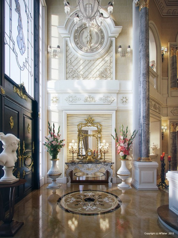 The Villa's breathtaking entry is opulent beyond words with its soaring ceilings, decorative wall friezes, marble columns and gold accented finishes.