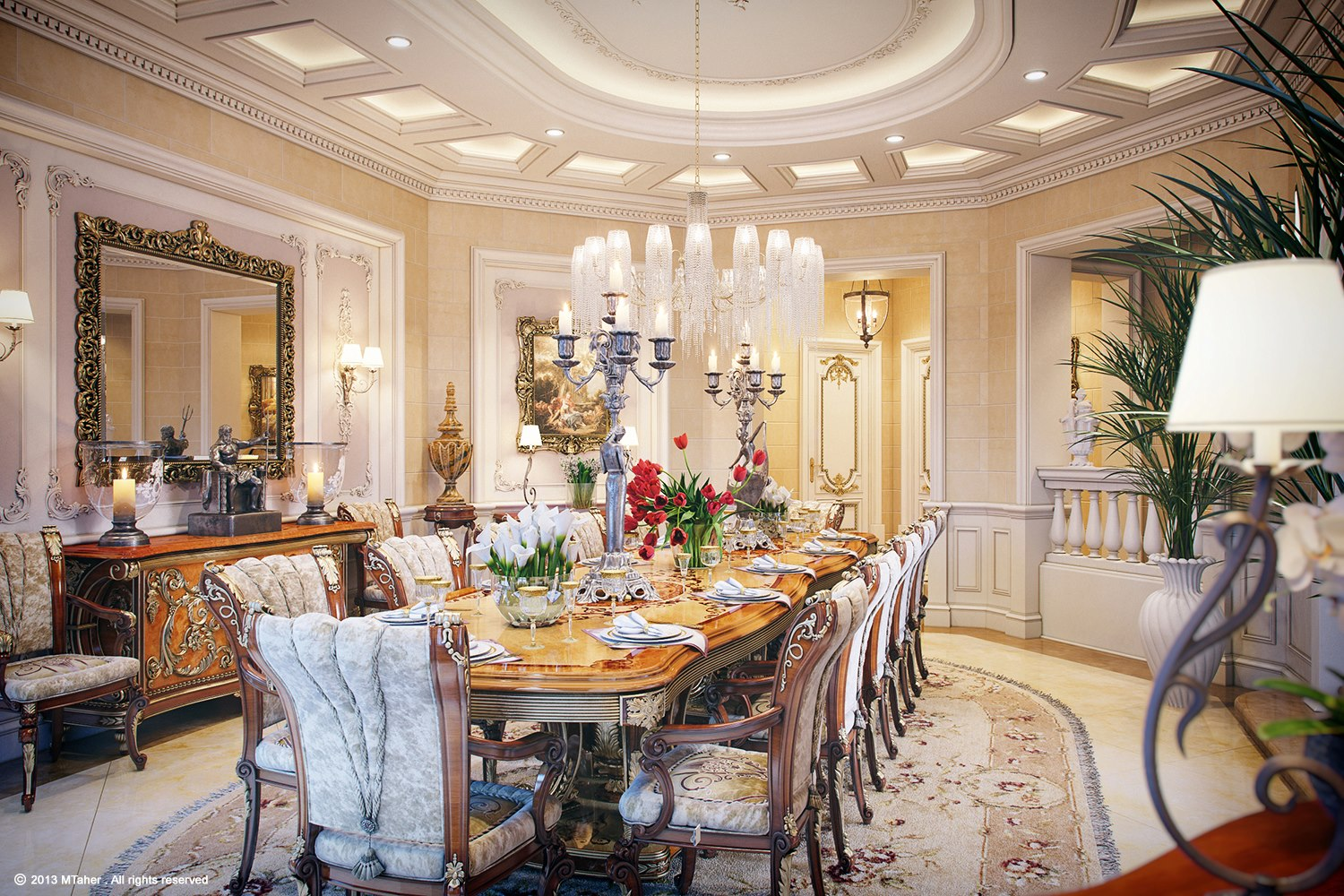 Luxury villa in qatar visualized for Homes with beautiful dining rooms