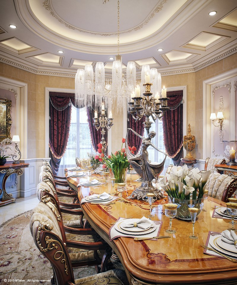 Luxury villa in qatar visualized for Dining room designs 2013