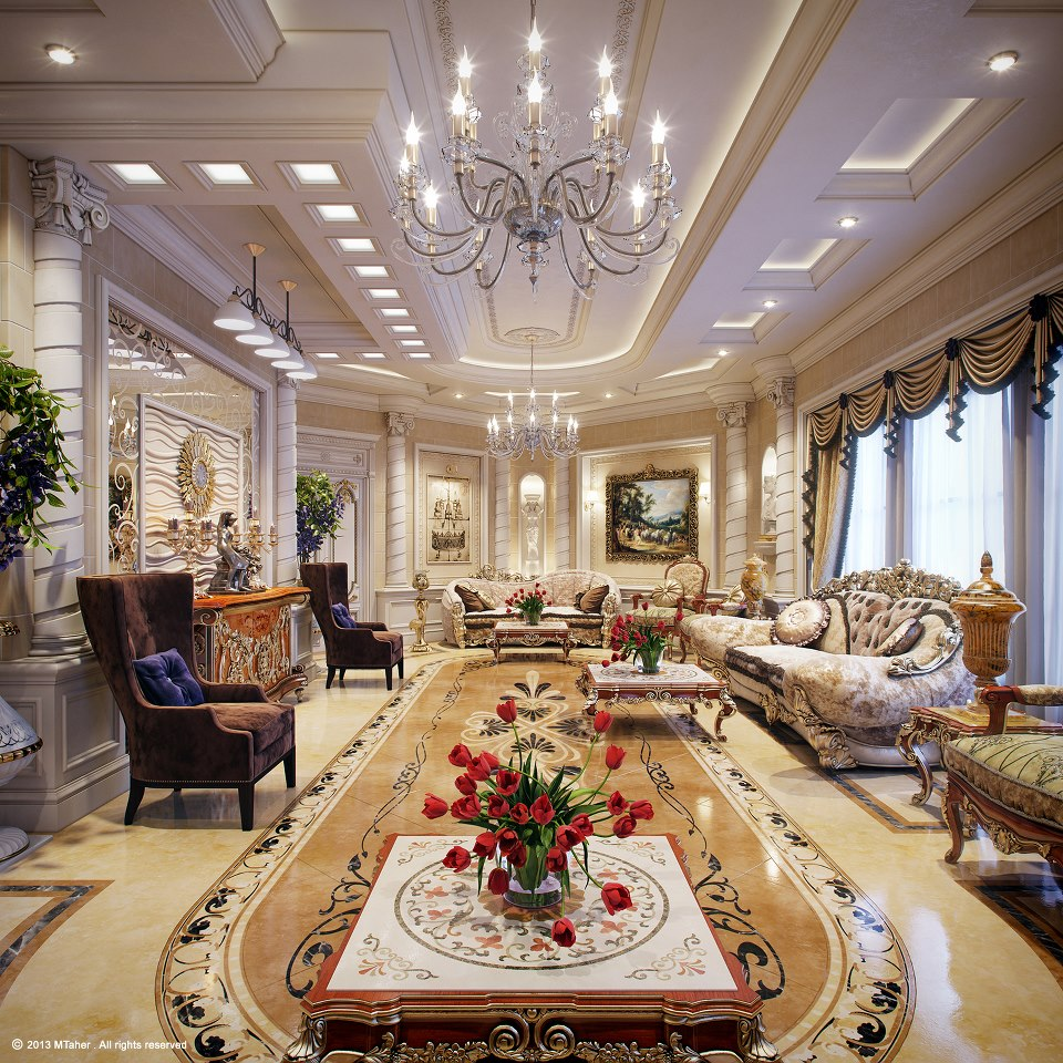 Luxury villa in qatar visualized Grand home furniture dubai