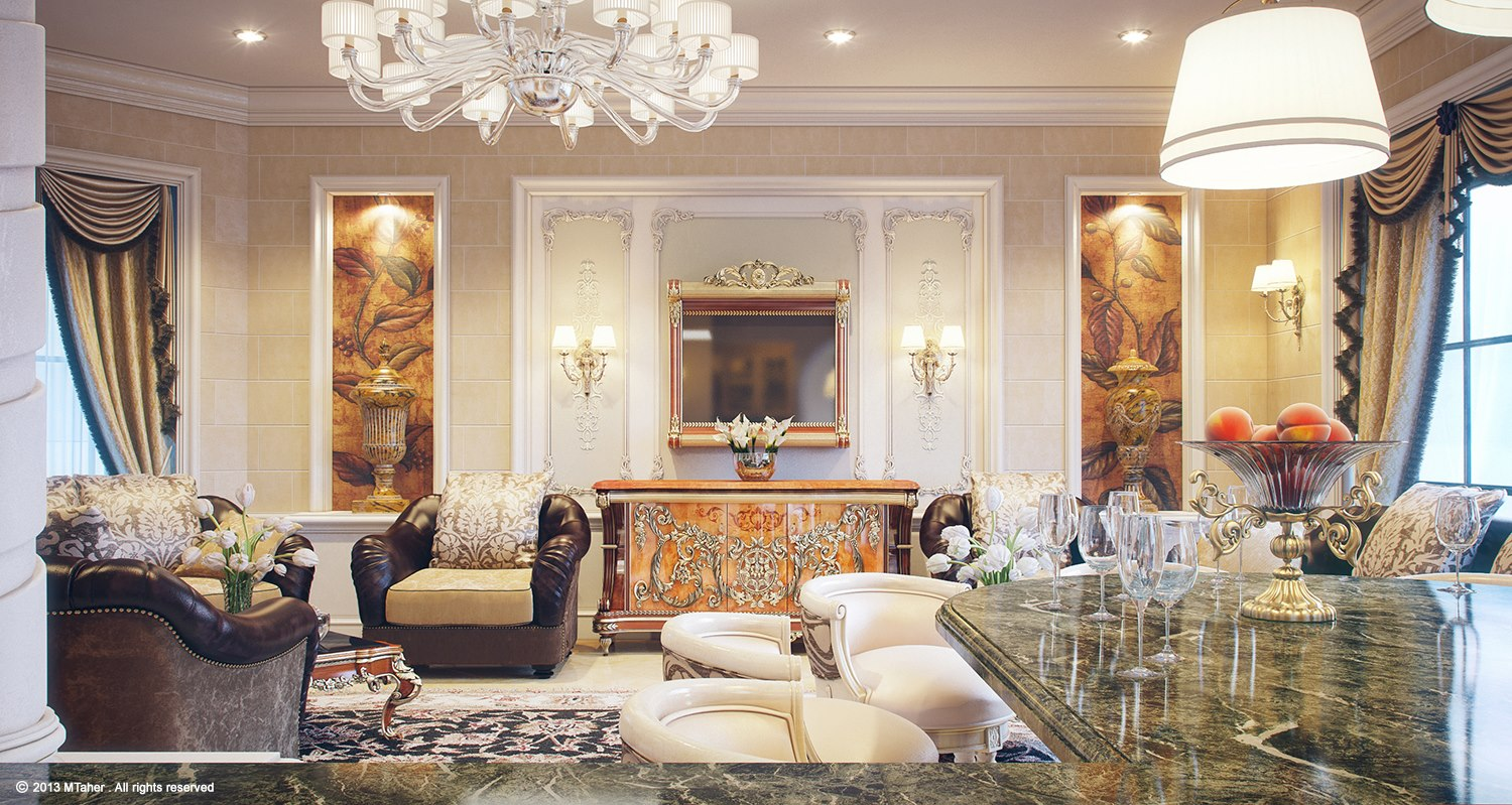 Luxury villa lounge 2 interior design ideas for Interior design qatar