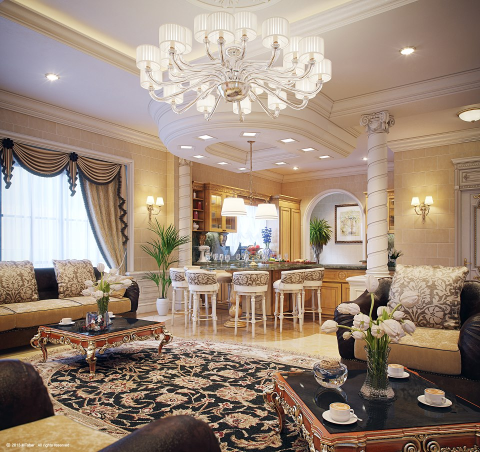 Luxury villa in qatar visualized - Decor oriental design interieur luxe antonovich ...