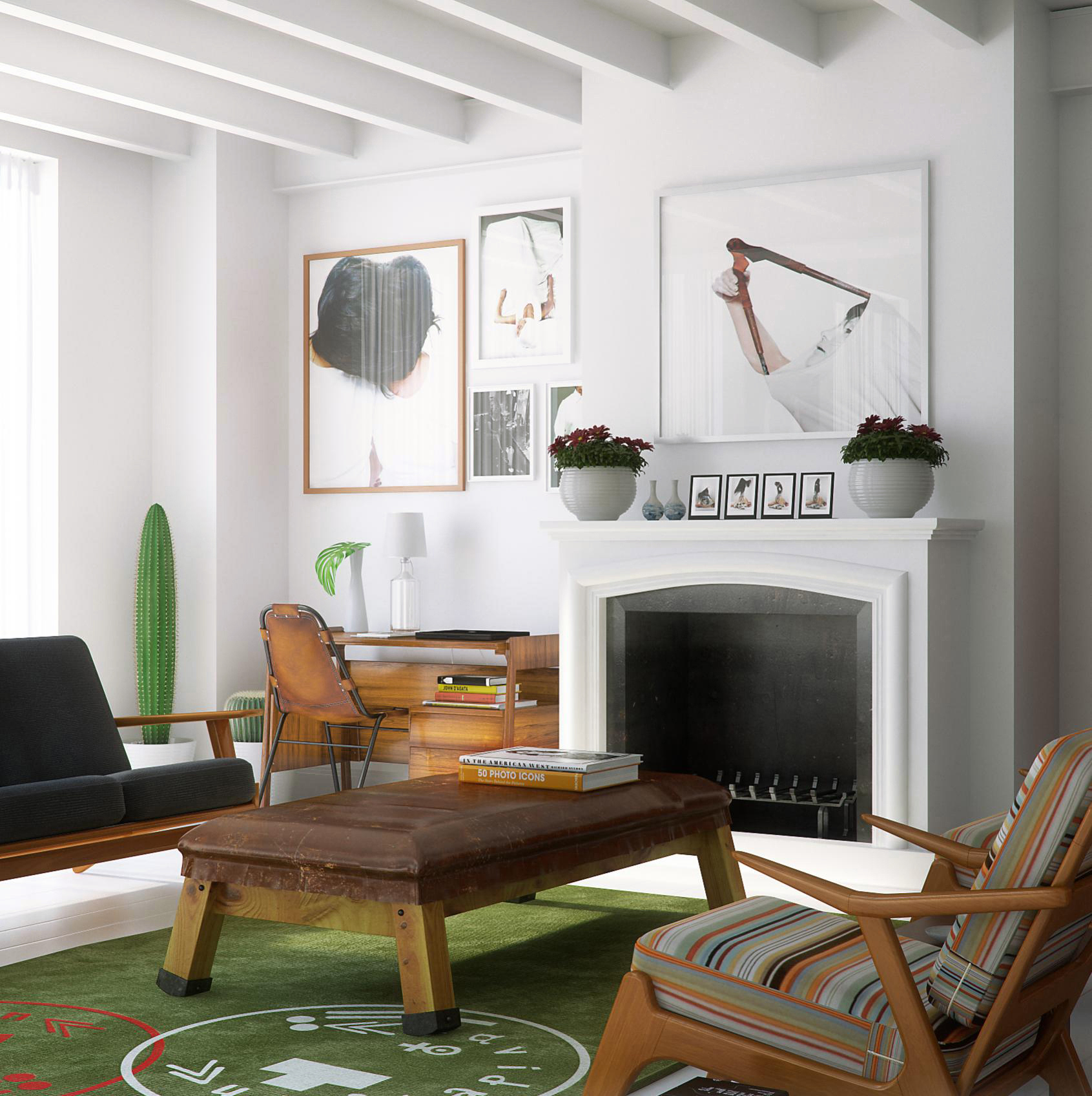 Two beautiful urban lofts visualized for Vintage living room decor