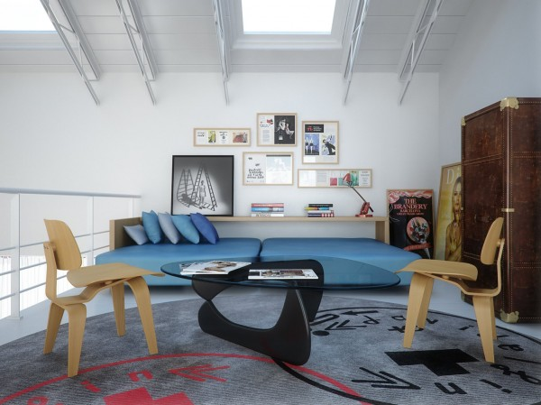 The loft space boasts dynamic hues of blue and red which pop against the white walls.