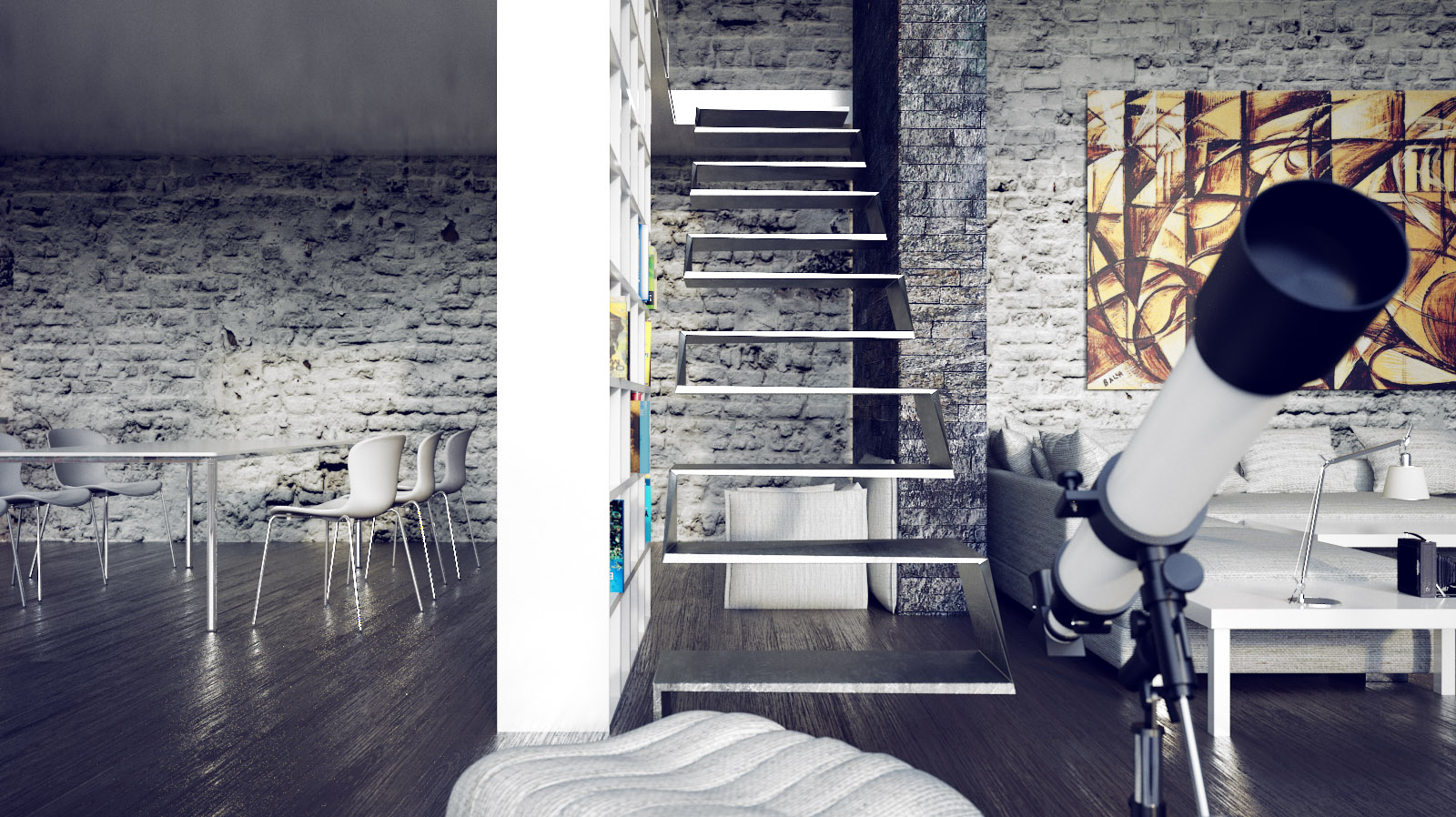 Two beautiful urban lofts visualized for Design interieur