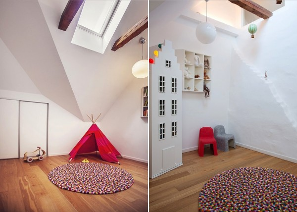 This child's room offers plenty of space to roam and play and a cool red teepee to hide out in.