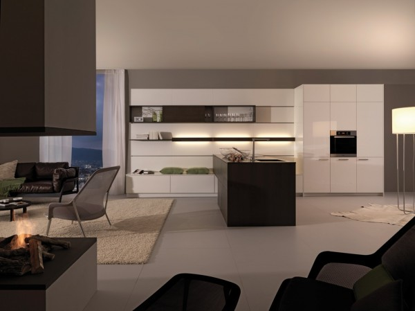 white and grey kitchen with wood look island