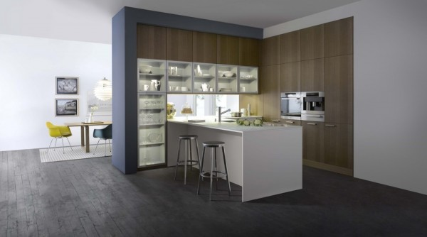 white kitchen island with wood cladding and flooring