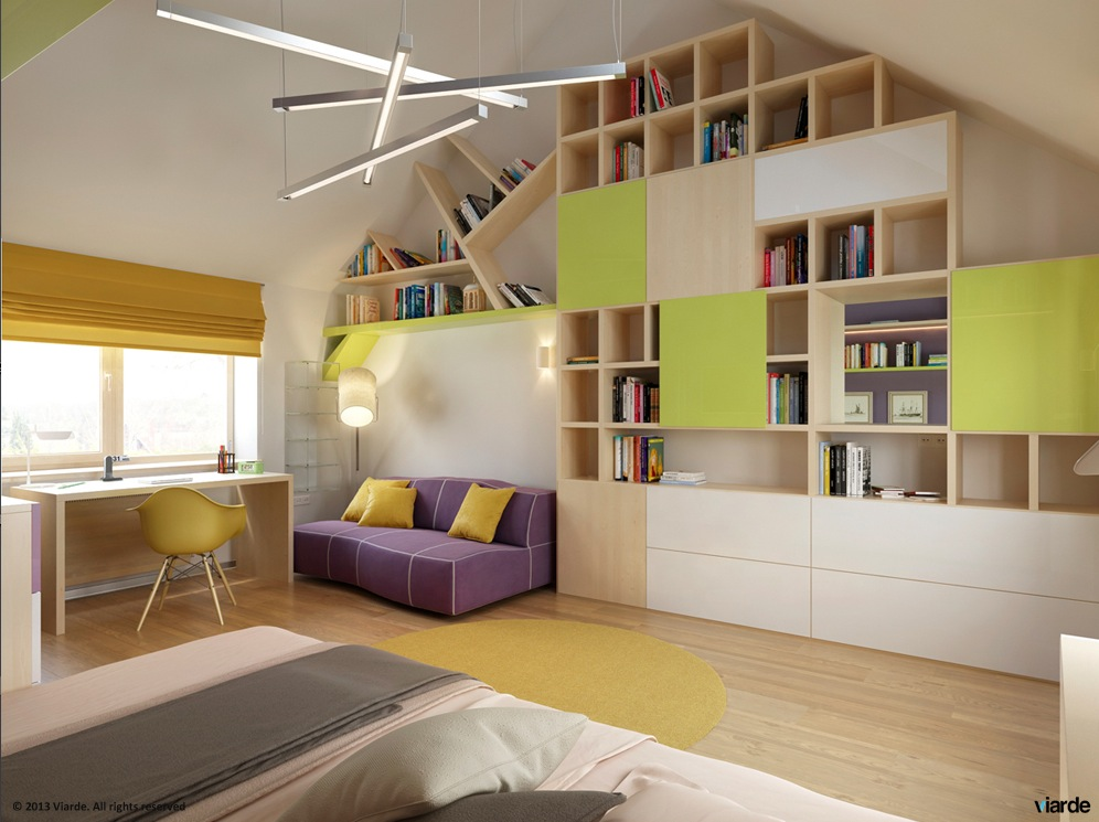 12 kids bedrooms with cool built ins for Shelving for kids room