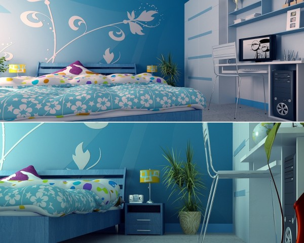 Ultra modern. this teen girl's bedroom is awash in blue and pops of brilliant color. A built in closet and desk provide plenty of storage and an area for homework.