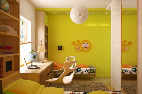This twin bedroom would certainly be happy to wake to each morning with its lemony yellow walls, fun prints and child like exuberance. Built-in shelves above the bed keep favorite items close at hand.