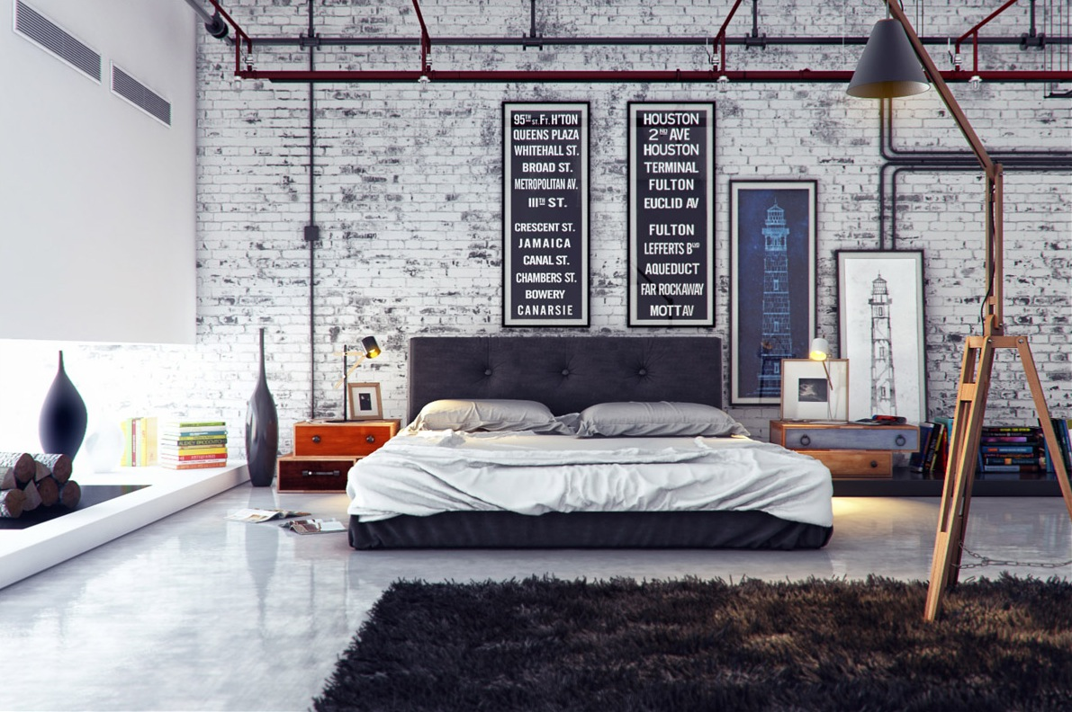 Industrial bedroom 1 interior design ideas for One bedroom house interior design