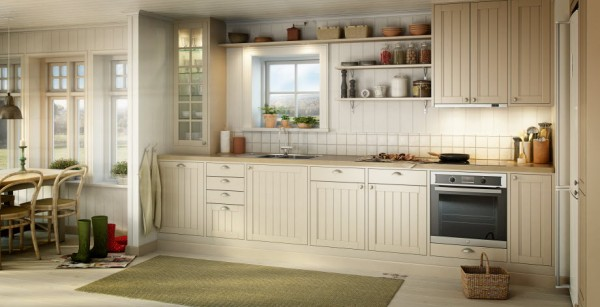 Highly functional yet charmingly rustic, the Koster canvas kitchen pays homage to true Shaker style. Details include antiqued oval hardware, driftwood antique look worktops and framed doors set in creamy white cabinetry.